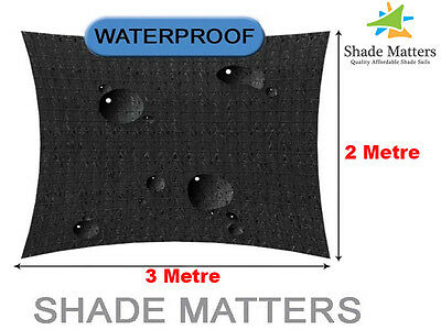 New Waterproof Shade Sail- Rectangle 2m x3m Black Color