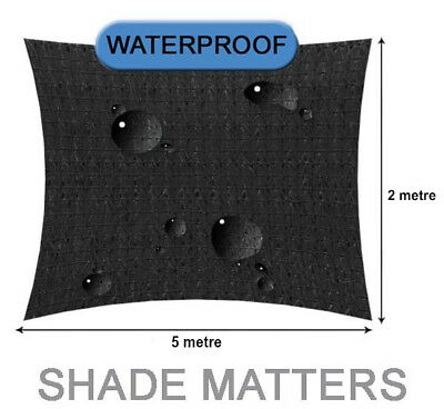 New Waterproof Shade Sail- Rectangle 2m x5m Black Color