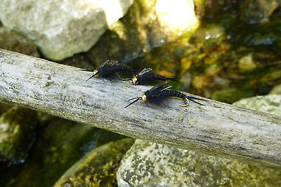 4 St.Goldkopf STONEFLY Nymphen # 8 Top Nymphe Regenbogen-Bach-Forelle Saibling