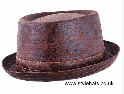 Worn Look Distressed Leather Look Pork Pie Hat Black Brown