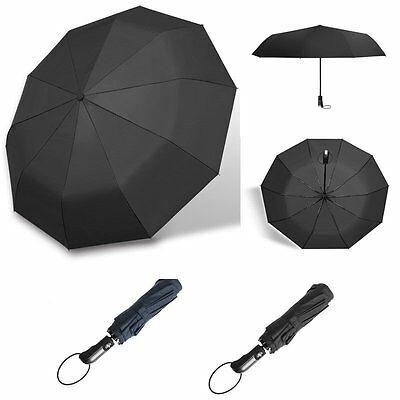 Fold Strong Auto Open & Close Windproof Vented Men's Umbrella Black /Drak Blue