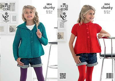 King Cole 3834 Knitting Pattern Girls Cardigans in King Cole Glitz Chunky