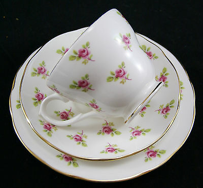 Vintage DUCHESS Pretty Pink Roses Trio - Cup, Saucer & Side Plate