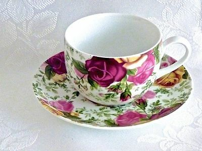 Gorgeous Modern Style Royal Albert 'country Rose Chintz ' Teacup & Saucer