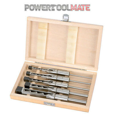 Draper 40406 5 Piece Hollow Square Mortice Chisel and Bit Set