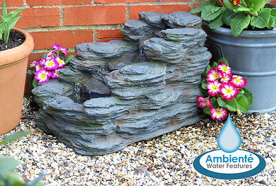 3 Step Rock Stone Cascade Water Feature Fountain Waterfall Self Contained Garden