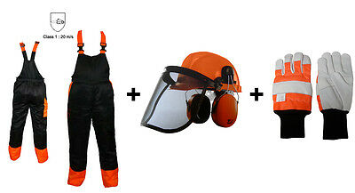 Chainsaw Safety Protection Bib & Brace Trousers Type A, Gloves / Helmet Kit