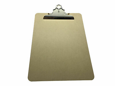 Pack of 6 A4 MDF Wooden Clipboards with Butterfly Clip - Wood Hard Board Office