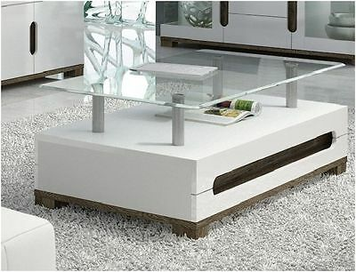 Lorenz High Gloss White Coffee Table With Glass Top Loung Tea Games Table