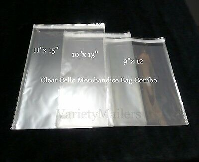 150 Cello Merchandise / Storage Bag Variety Pack 9x12 10x13 11x15 Self-Sealing