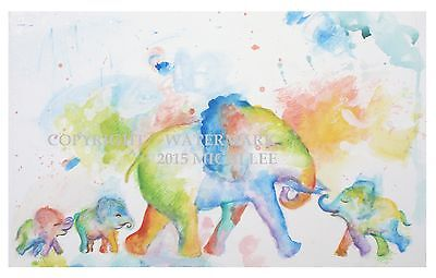 "ELEPHANTS Poster Print from original watercolour painting Home Decor Art 7""x5"""