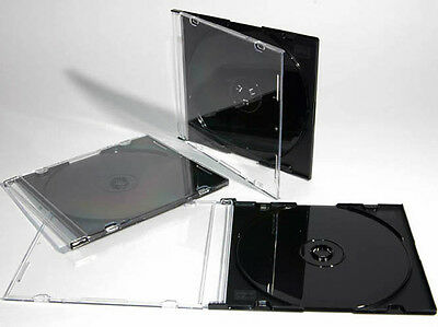 25 X CD / DVD Slimline Jewel 5.2mm Cases for 1 Disc With Black Tray Pack of 25