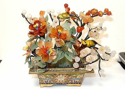 Rare Cloisonne Enamel Birds Solid Jade And White Stone Blossom Tree
