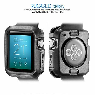 38mm Rugged Protective TPU Case Accessories For Apple Watch Sport IWatch Black