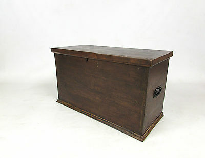 EARLY 20th C OAK & PINE STORAGE TRUNK / CHEST / COFFER WITH CANDLE BOX