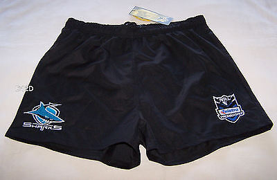 Cronulla Sharks NRL Boys Black Embroidered Rugby Shorts Size 14 New