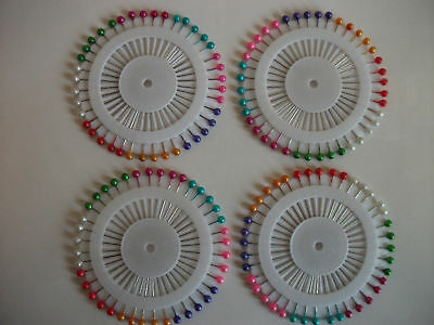Quality 160 Multicoloured Pearl Head Dressmakers Pins.