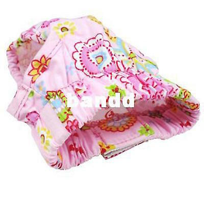 Reusable Dog Nappy Pads Diaper Pets Apparel Clothes Pants Pink Yellow S/M/L