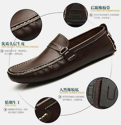 NEW Mens Leather Casual Slip On Loafer Canvas Moccasins Driving Shoes @@@9