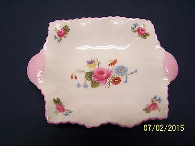 Shelley China Pink Handled Floral Pin Dish