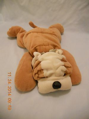 "Ty Pillow Pal Bulldog Plush 13"" 1996 Retired Unisex 2+ Mint Green Ribbon on Neck"