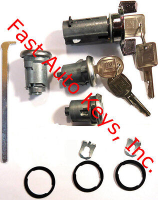New GM Chrome Ignition/Doors/Trunk Lock Key Cylinder Set With Keys To Match