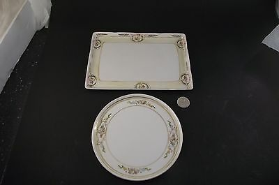 Nippon Hand Painted Dresser Or Pin Tray And Trivet
