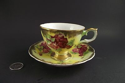 Yellow Gold Floral Footed Trimont Japan Cabinet Tea Cup And Saucer
