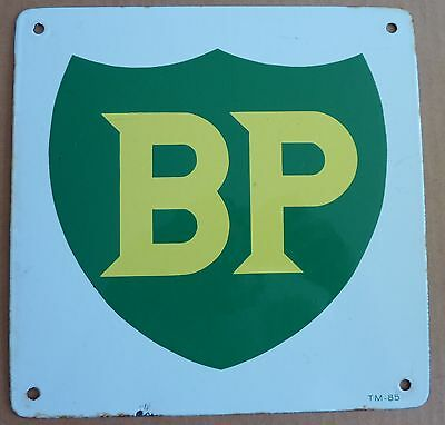Vintage Original Porcelain British Petroleum BP Gas Pump Plate 2