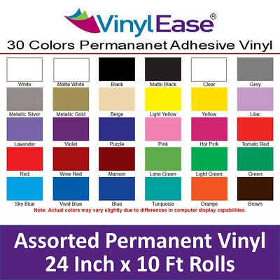 5 Rolls of 24in x 10ft Permanent Sign Craft Vinyl UPick from 30 Colors V0323