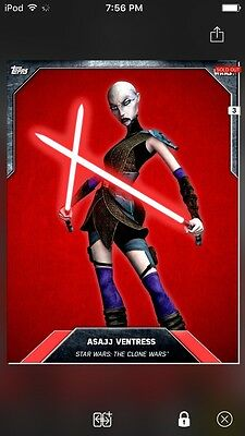 Topps Star Wars Digital Card Trader Red Cloth Asajj Ventress Base Variant