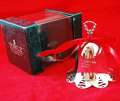 TOWLE Silver Plate Bell *2001* Christmas Ornament + Box and Ribbon
