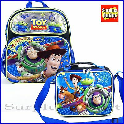 """Disney Pixar Toy Story Boys 12"""" Toddler Backpack and Lunch Bag 2 pc Set"""