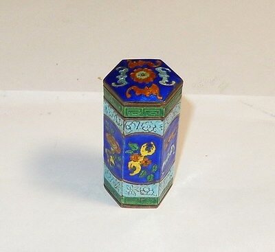 Chinese Silver Cloisonne Blue Enamel Bat Opium Canister Jar Box