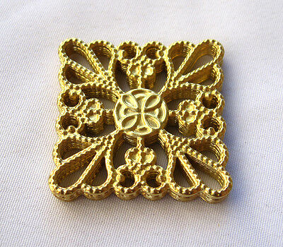 Square Brass Filigree Stamping Findings Ornaments Jewelry Making bf144 (10pcs)