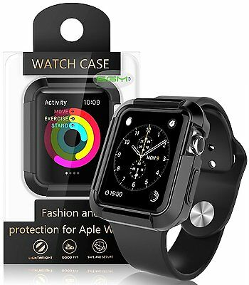 42mm Rugged Armor Full Body TPU Case Cover Protect For Apple Watch IWatch Black