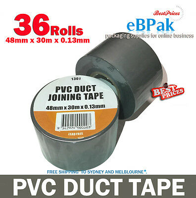 PVC Duct Tape 48mm x 30m x 0.13mm Joining Sealing - Silver Grey x 36 Rolls