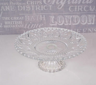 Round glass shabby cake stand vintage wedding chic kitchen display clear glass