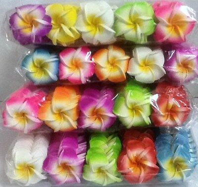 Pack of 20 foam latex frangipani flowers approx 4 - 4.5cm - various colours