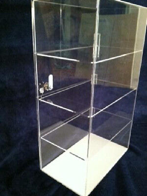 """Acrylic Counter TOP Display Case 12"""" x 8"""" x 19.5"""" Locking Security Show Case"""