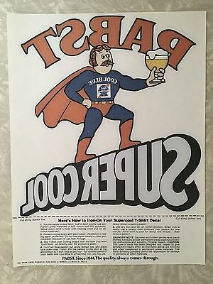 "Vintage Pabst Blue Ribbon ""Super Cool"" Iron On Decal"