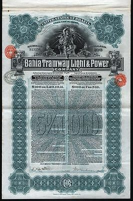 1905 United States of Brazil: Bahia Tramway Light & Power, uncancelled Gold Bond