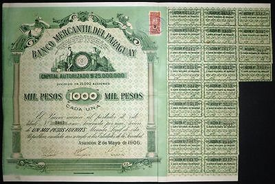 1906 Asuncion: Banco Mercantil Del Paraguay - uncancelled with coupons