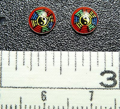 Sterling Silver Chinese Bagua Design post / stud Earrings. 1 Pair. Real Silver !