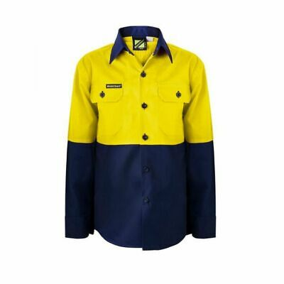 NEW Kids Hi Vis Work Shirt Embroidered Child's Name Yellow/Navy Size 4 6 8 10
