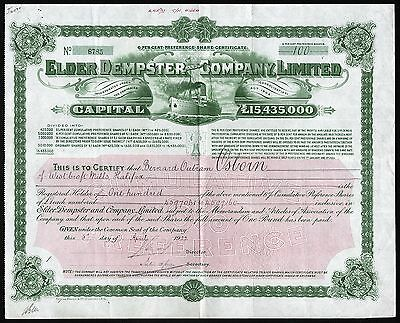 1922 England: Elder Dempster and Company Limited - Shipping Company