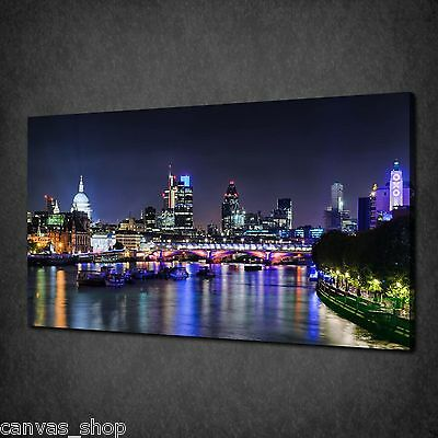 London City Skyline By Night Modern Canvas Print Wall Art Picture Ready To Hang