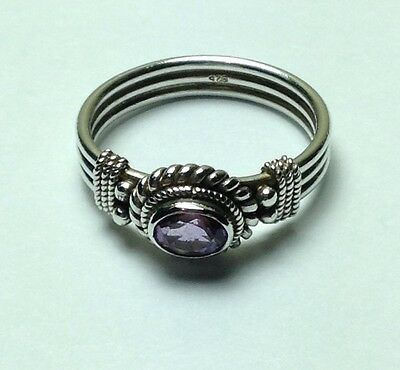 Sterling Silver Ring with Faceted Purple Amethyst Stone Size 8.5 USA Size