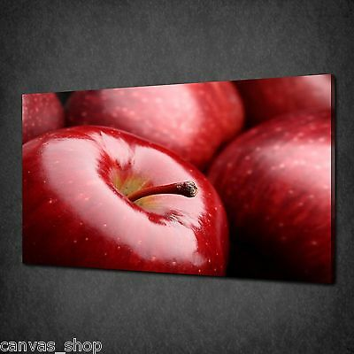 Shiny Red Apples Close Up Kitchen Canvas Print Wall Art Picture Ready To Hang