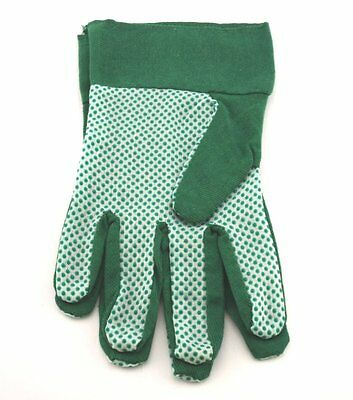 2 Pairs Of Garden Glove Grip Palm Cotton Light All Purpose Gloves Green